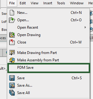 "PDMSave is located in the ""File"" dropdown within SOLIDWORKS"