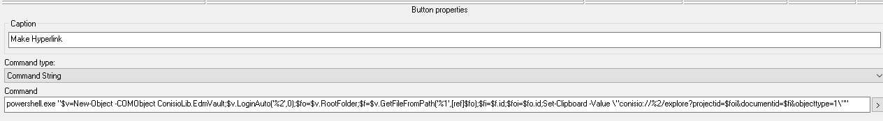 Set the data card button properties to run the powershell and add your hyperlink to the clipboard.