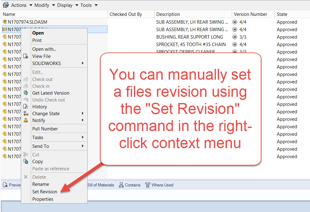SOLIDWORKS PDM 101: Setting Document Revisions