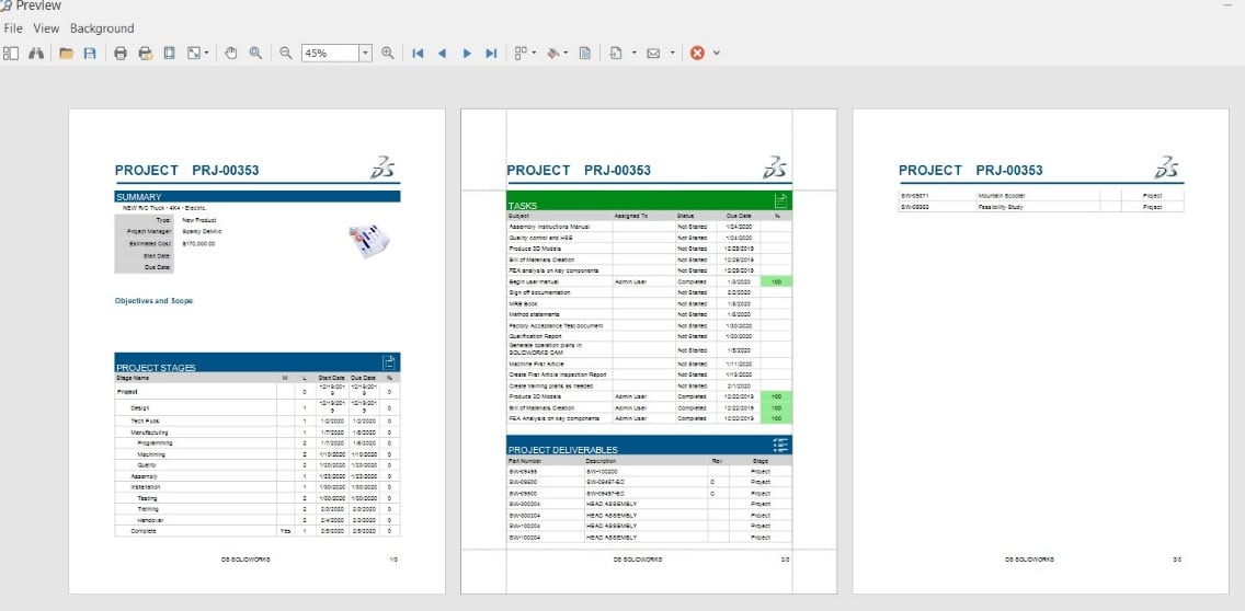 Reports are a big part of project management. SOLIDWORKS Manage can generate these on-demand to help us track our projects.