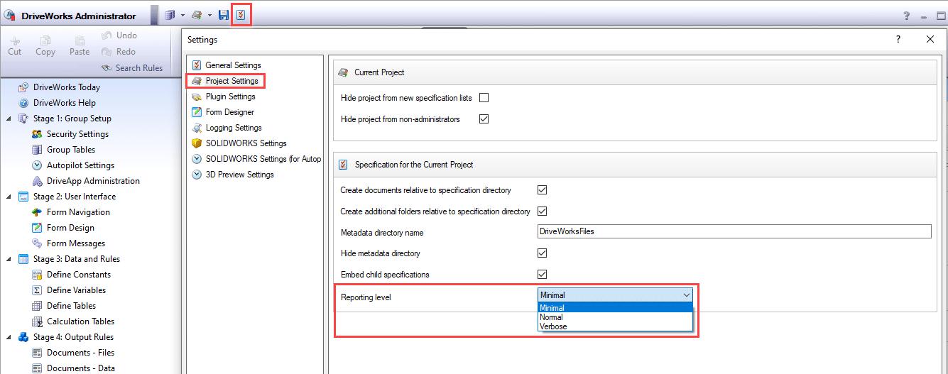 DriveWorks Model Insight settings