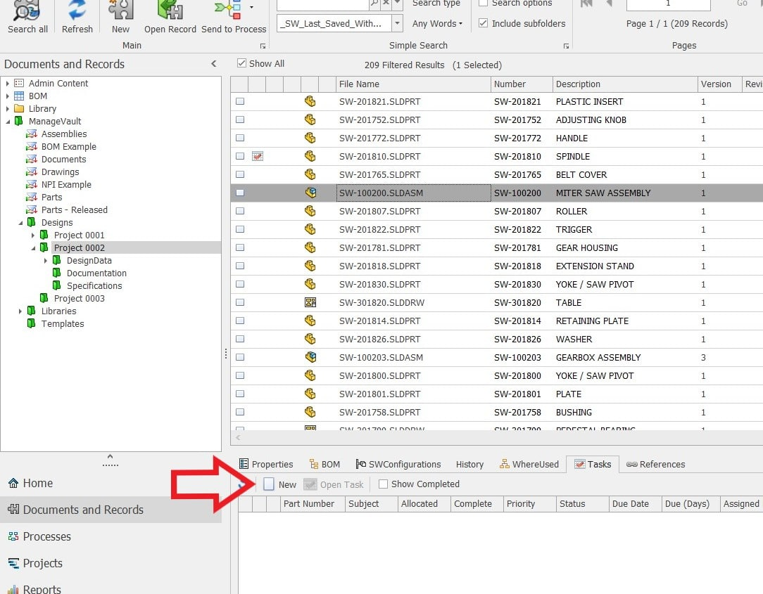 To create our assignable tasks in SOLIDWORKS Manage, we have to start by clicking New under Tasks.