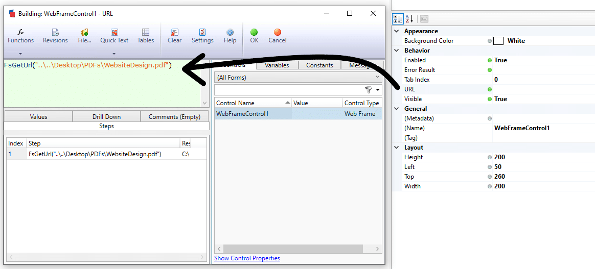 To view files in DriveWorks Live, just insert the FsGetUrl function in the URL rule.